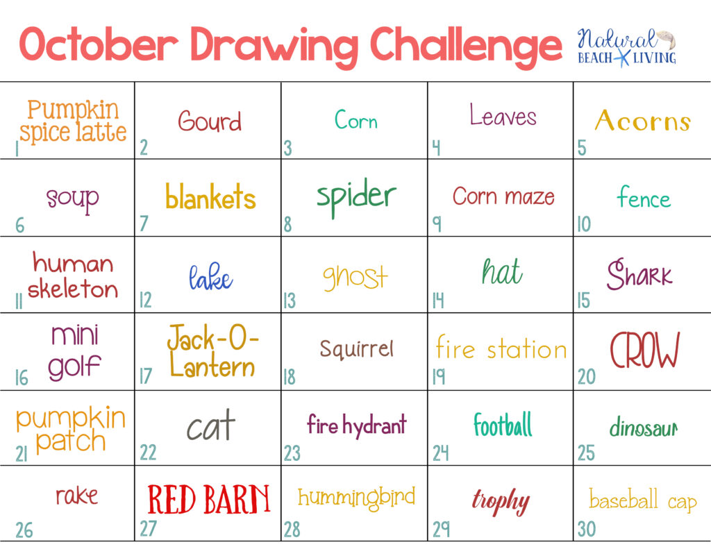 The October Drawing Challenge is a great way to use your creative thoughts and talents to draw something new every single day. this free 30 day drawing challenge for fall. This Monthly Drawing Challenge is full of 30 days with 30 topics and ideas to get you drawing daily. Have fun!