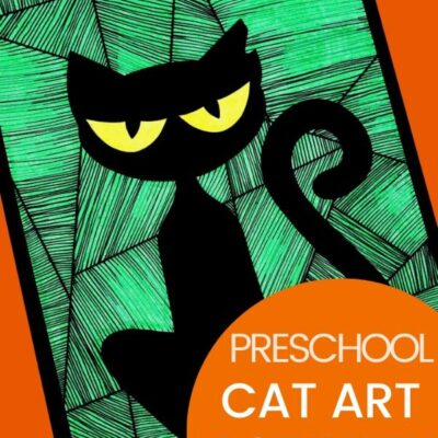 Preschool Cat Art Activity with Free Cat Template