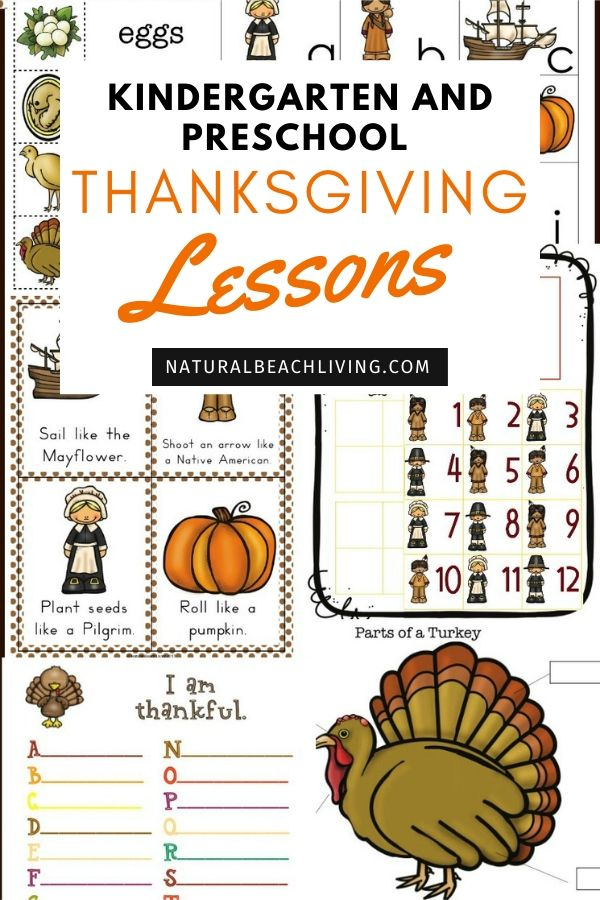 The Best Kindergarten and Preschool Thanksgiving Theme Lesson Plan, Preschool Thanksgiving activities, preschool theme filled with the life cycle of a turkey science, Mayflower STEM, Thanksgiving crafts, Movement cards, Thanksgiving writing center, alphabet tray, Montessori activities and more