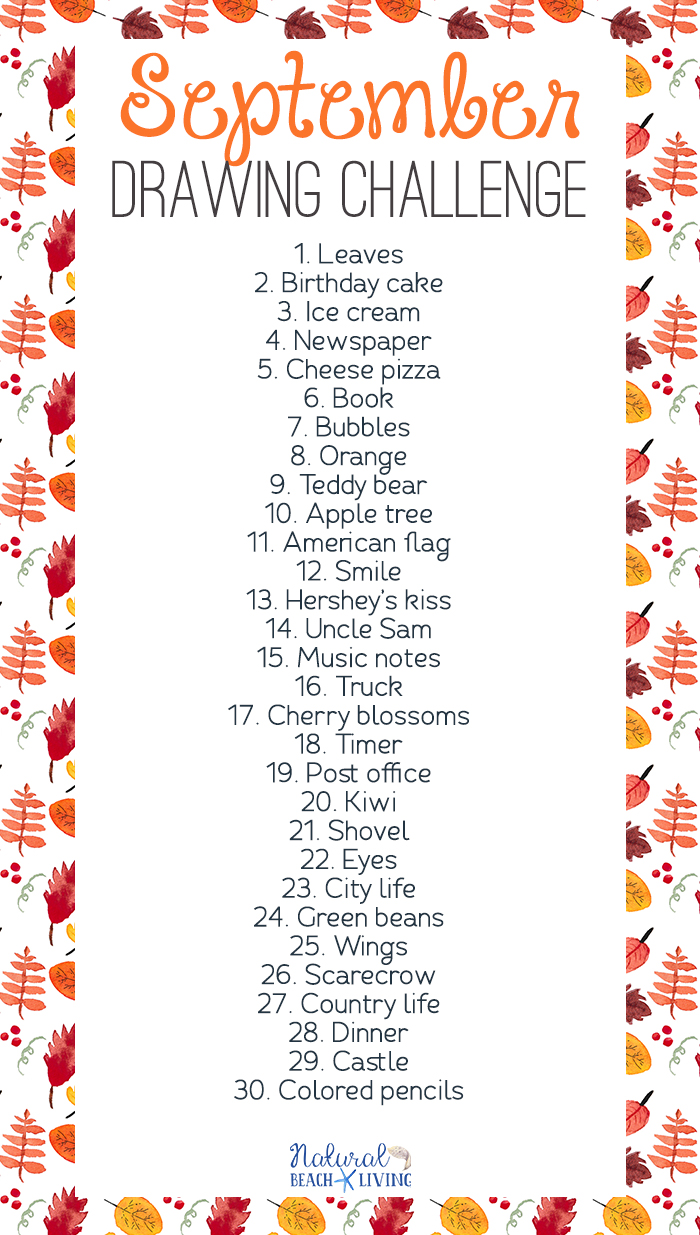 September Drawing Challenge – 30 Day Drawing Challenge for Kids and Adults