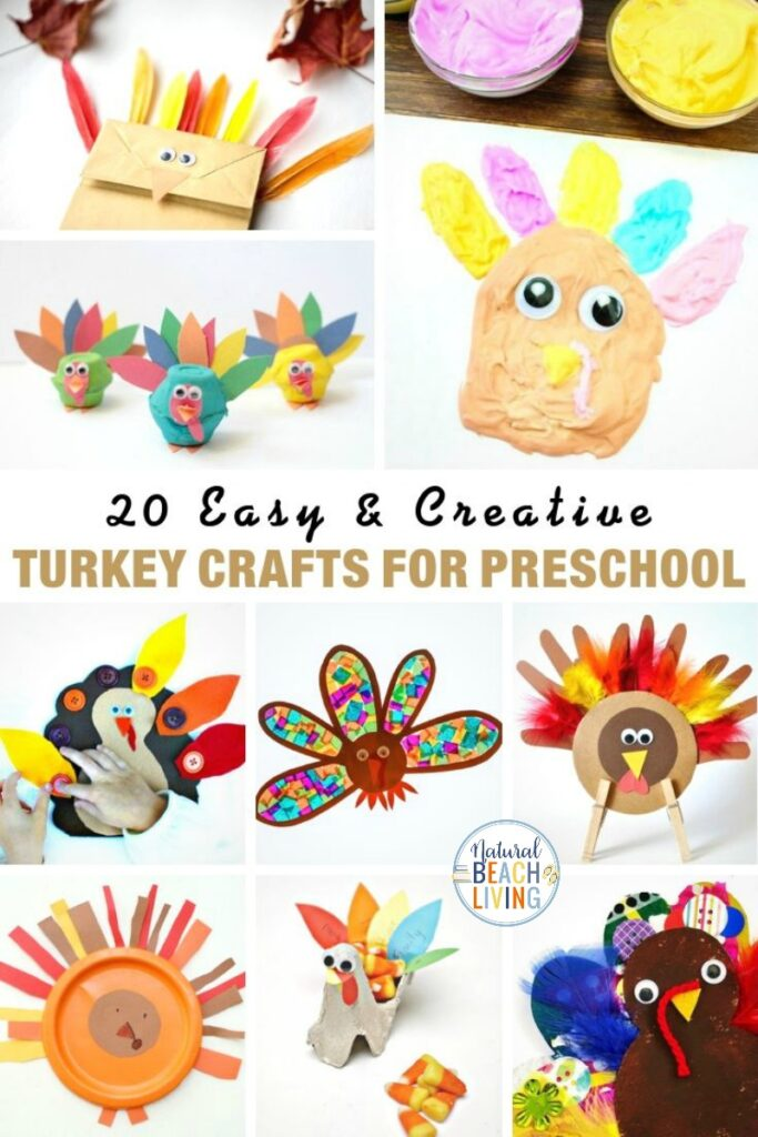 These turkey crafts for preschool are so much fun! They're all age-appropriate and different which makes them great for Easy Thanksgiving Crafts. These Thanksgiving Preschool Activities include Fall Slime, Turkey Salt Painting, turkey handprints, turkey paper plate crafts and so many more preschool craft ideas.