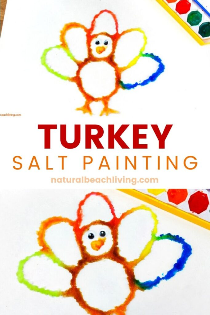 How to Make The Best Thanksgiving Turkey Salt Painting, Watercolor Salt Painting for a fun Turkey Preschool Craft, See how to Paint with Salt and Glue for a Fall Turkey craft kids love, Raised salt painting, process art