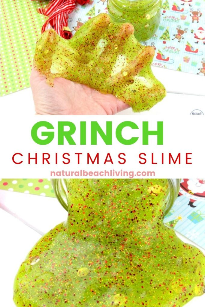 You're going to have so much fun creating this Christmas slime! It's easy to make and even more fun to create and play with! Grinch Slime is a Super Sensory Activity and a Christmas Craft and Science idea all kids love. Add this to a Grinch Party or make this Easy Slime Recipe with your kids.