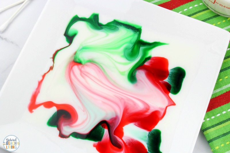This Christmas Magic Milk Science Experiment is a great way to incorporate the holidays and learning fun! Magic Milk is great for a wide variety of ages! Kids love this Color Changing Magic Milk Experiment, You'll also find Science Experiments for Kids Videos