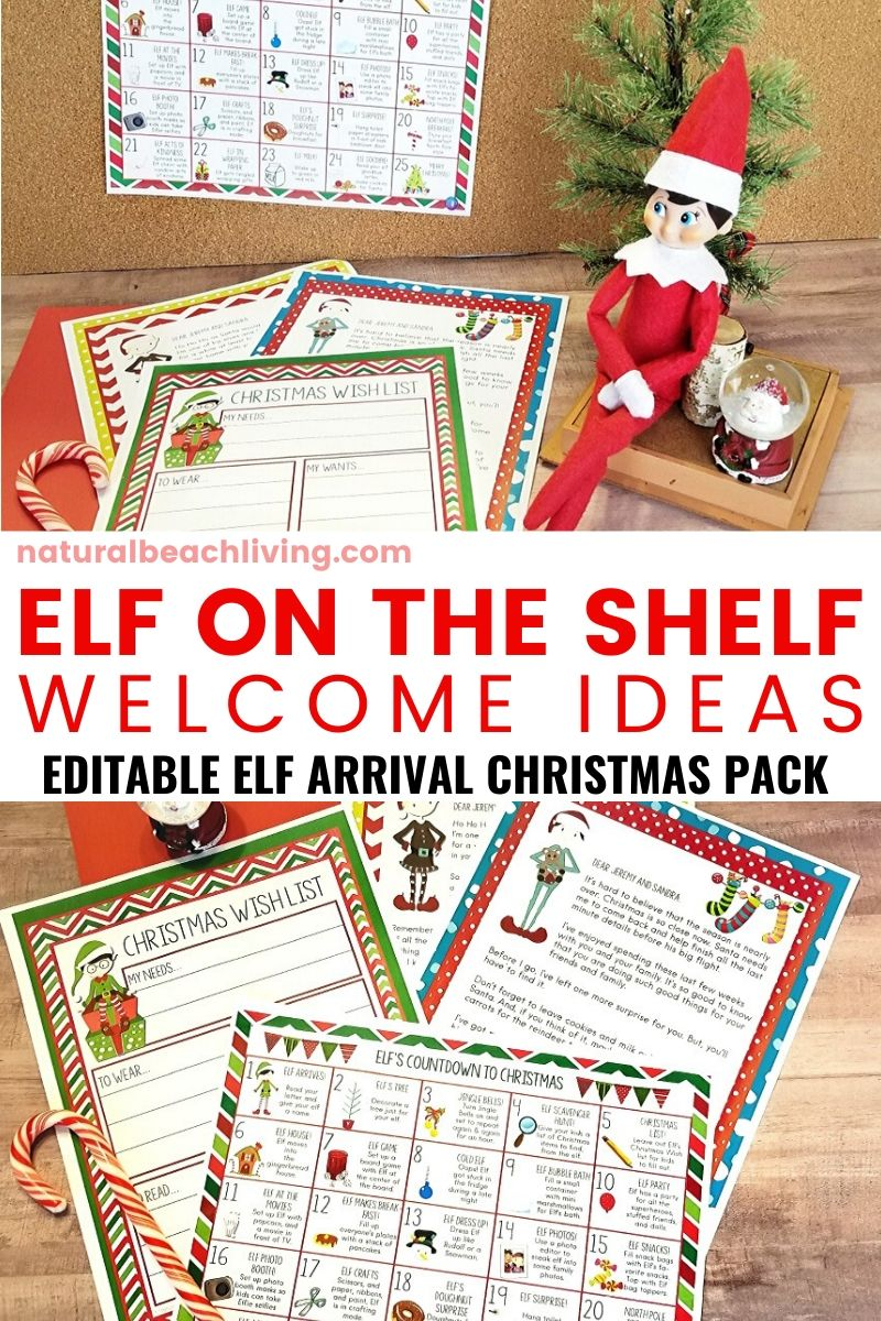 Elf on the Shelf Ideas for Arrival with Free Editable Printables