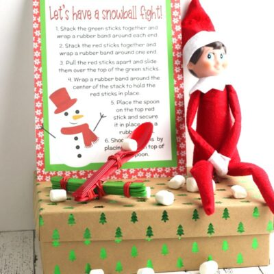 Elf on the Shelf Marshmallow Catapult with Free STEM Printable