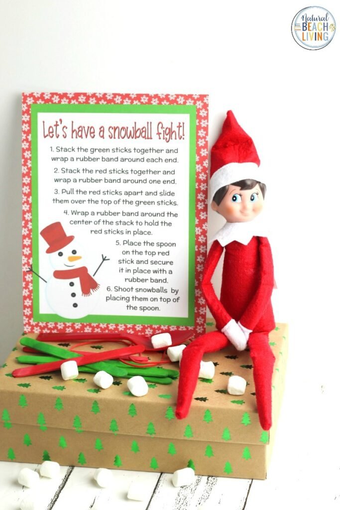This Elf on the Shelf Marshmallow Catapult is a great way to have fun together with all your family and friends! You can easily make this Christmas STEM activity quickly with Free Elf Printables! These Elf Ideas are perfect for kids of all ages and I'm sure this Elf on the Shelf idea will bring lots of smiles. Best Elf on the Shelf