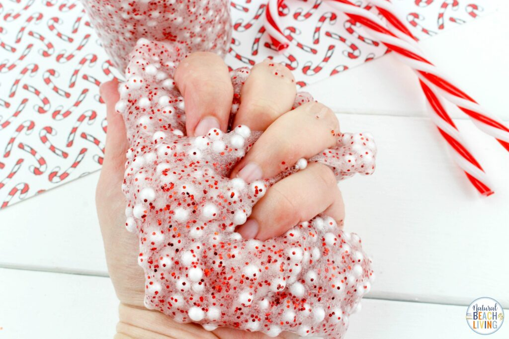 This Candy Cane Slime Recipe is a great way to get excited about the holidays. It's full of fun and crunchy texture that the kids will love! Floam Slime and How to make Crunchy Slime in an easy way with only a few ingredients. This also makes the Best Christmas Slime for an Easy Slime Recipe