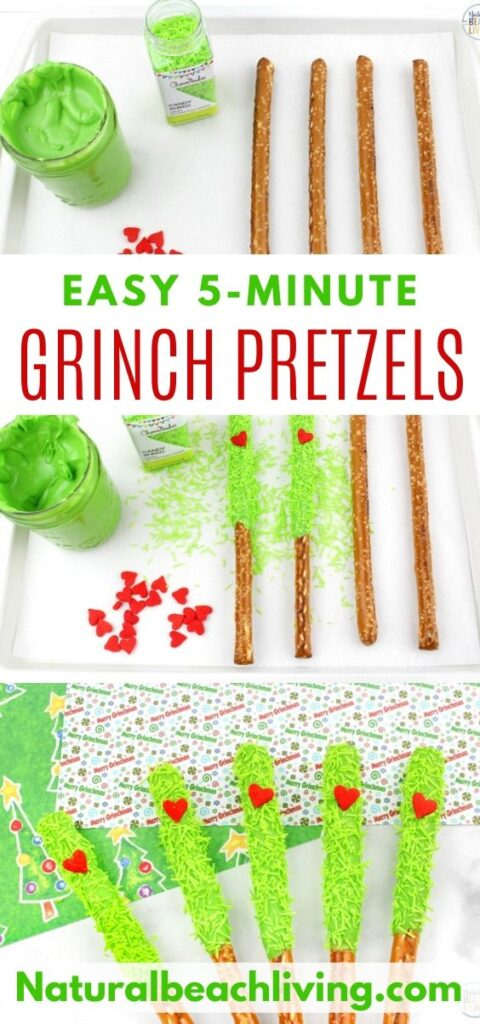 These delicious Grinch Chocolate Covered Pretzels will make everyone happy. They are so easy to make and Grinch Food Recipes look great on a party table. Add these Grinch Chocolate Covered Pretzels to your Grinch Food list and pull off a marvelous movie night or holiday party, Chocolate dipped pretzels, Grinch Party Ideas
