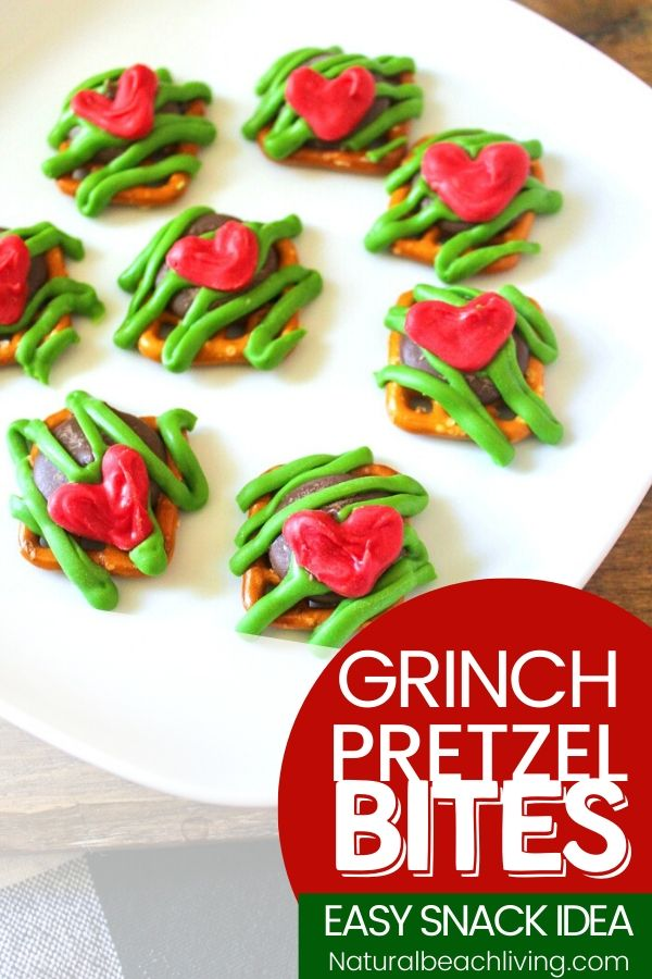 These Grinch Pretzel snack bites are the perfect thing to serve for a Grinch Movie Night or Christmas party treat. A bite-size Grinch snack everyone enjoys, sweet and salty Grinch Pretzel Bites drizzled with chocolate makes a Grinch Treat you can't stop eating, Grinch Party Food