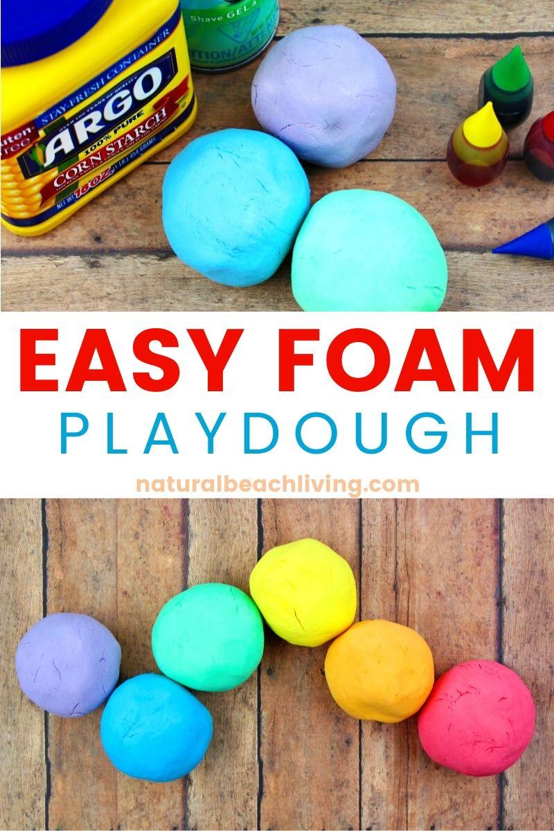 How to Make Shaving Cream Play dough Recipe – Rainbow Foam Dough