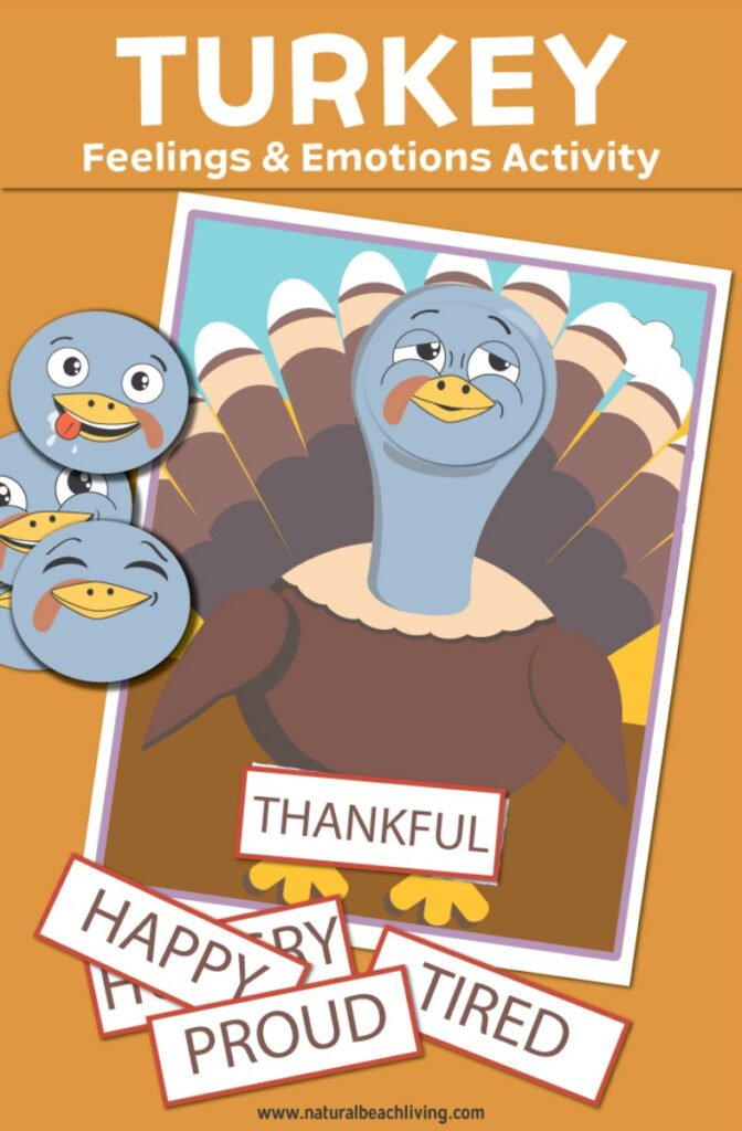 These Thanksgiving Theme Feelings and emotions activities for preschoolers are so cute. Preschool Turkey emotions printables make an exciting hands-on activity during November. Use Social Emotional Activities for Preschool, Kindergarten and Early Elementary age children. They make great centers, Montessori activities, or for exploring emotions with emotional activities