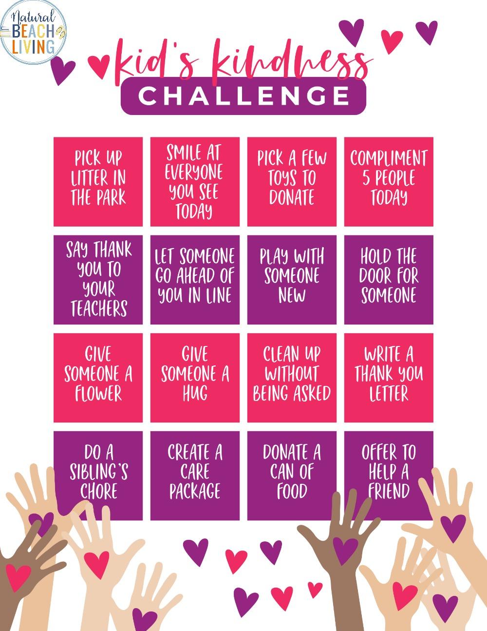 Kindness Challenge for Kids – Free Kindness Printable