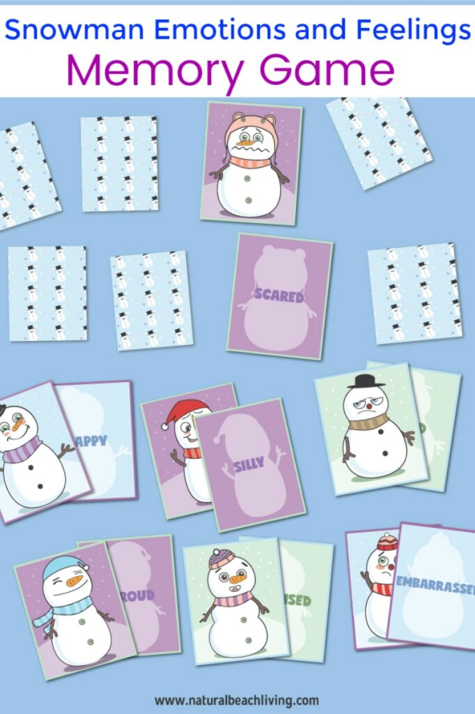 This Snowman Emotions and Feelings Memory Game is so much fun to use! Combine emotions and feelings cards with the words so your child can learn them both while having fun. Emotion Cards Memory Game and feelings and emotions activities for preschoolers, Add this Snowman Activity and  Snowman Printables to a winter preschool theme, Emotion Cards