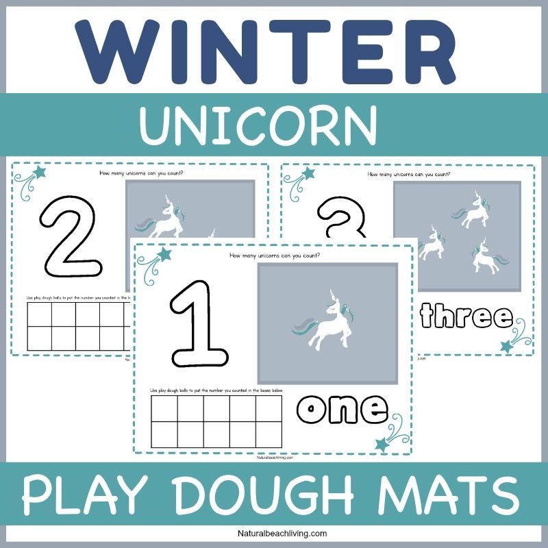 These unicorn playdough mats are perfect for preschoolers to think creatively, work on counting and number skills, and also work on their fine motor skills. Playdough Mats are a great way to introduce the concept of counting, writing, AND reading by using fun Unicorn themed printables. Add these to a Unicorn Lesson Plan or Preschool Unicorn Theme!