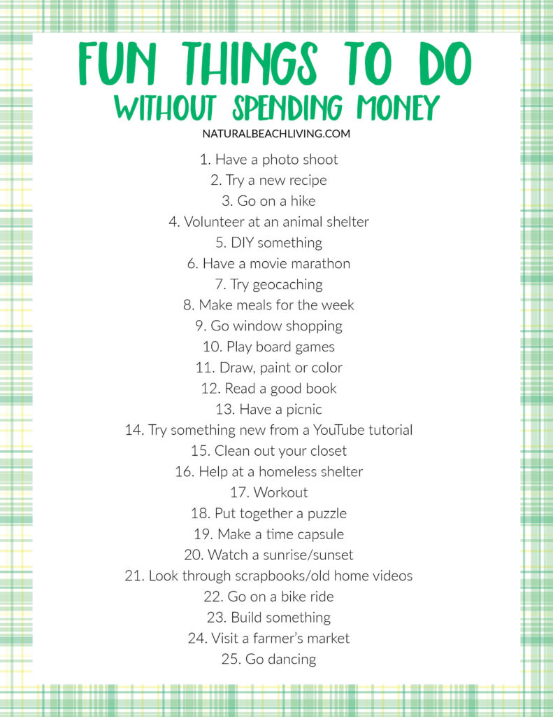 Are you looking for Fun Things To Do Without Spending Money? This list is certain to help you have fun without spending a dime! Including No Spend Weekend ideas and a No Spend Challenge Printable, You'll love These No Spend Activities