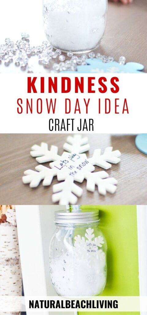 This Winter Kindness Jar Idea is AWESOME. Invite others to spend the day playing in the snow, leave kind notes, do a random act of kindness to make friends and neighbors happy! This Kindness Jar is a perfect act of kindness idea for kids. Use it as a Winter craft for kindergarten and preschoolers or fun Snow Day Activities, Snow Day Ideas