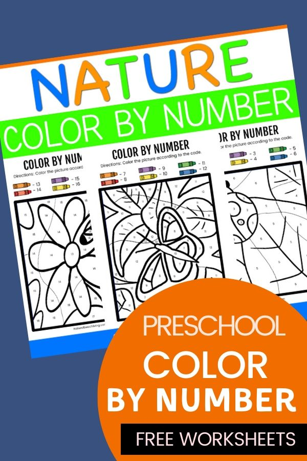These Nature Color By Number Preschool Worksheets are great for a wide variety of ages. Your children will love to be creative! Grab these Free Color By Number Worksheets for your kids to enjoy. Free preschool number worksheets and Nature Color By Number free printables for homeschooling or fun.