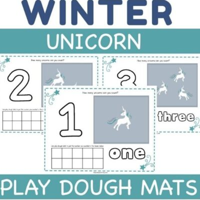 Unicorn Playdough Mats – Free Printable Counting Mats
