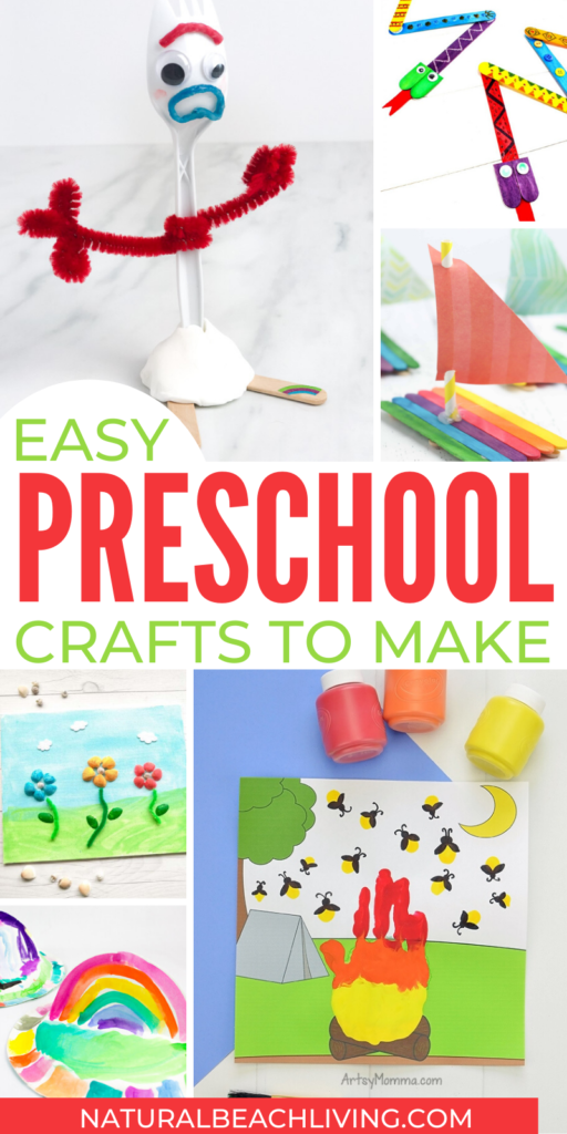 30+ Quick and easy preschool crafts that take less than twenty minutes to make. Your children will love creating these fun craft ideas throughout the year. Educational Crafts for Preschoolers, Letter of the Week alphabet crafts, paper plate crafts, and so many more fun crafts for preschoolers.