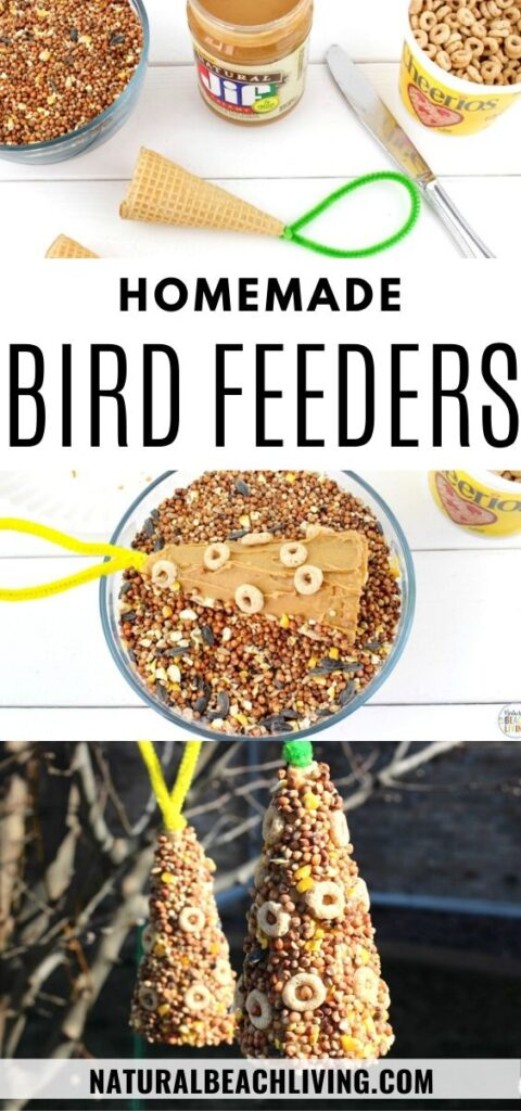 This Ice Cream Cone Bird Feeder is such a simple project. Perfect for Spring, Summer, Earth Day, or any time of the year. Your backyard birds will be very happy with these Bird Seed Ornaments! This is a simple Kid Made Bird Feeder with only a few ingredients. See how to make a bird feeder with over 30 homemade bird feeders