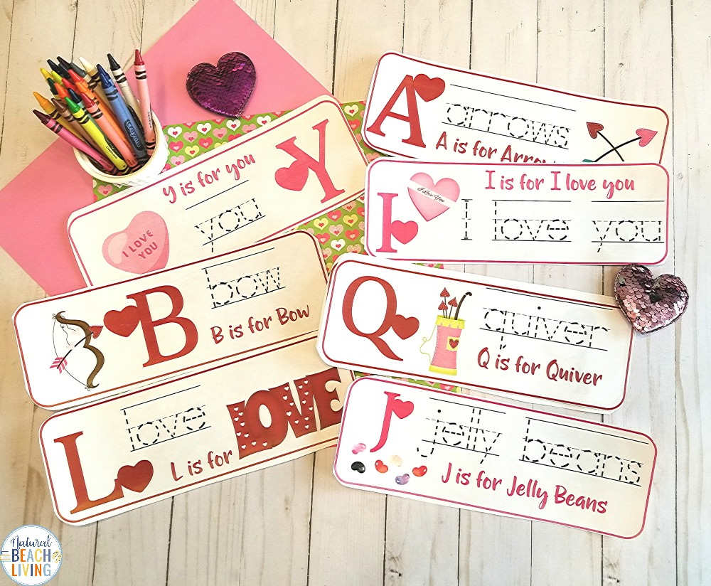 If you're looking for fun Valentine's Day Preschool Alphabet Activities you're going to love this sweet educational printable!  Have fun with these Valentine alphabet handwriting cards for preschoolers and Kindergarten. looking to add to your preschool themes, this set of Valentine Alphabet Activities is Perfect!
