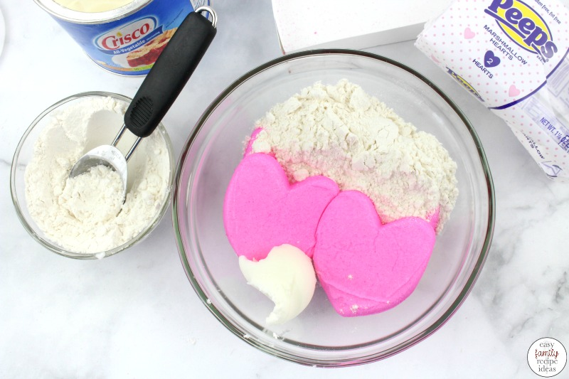 Just when you thought you'd made every type of playdough this Valentine Edible Peeps Playdough is just what you need! Simple to make homemade playdough recipe with only 3 ingredients! This is an Easy playdough recipe, no-cook playdough recipe kids love playing with.