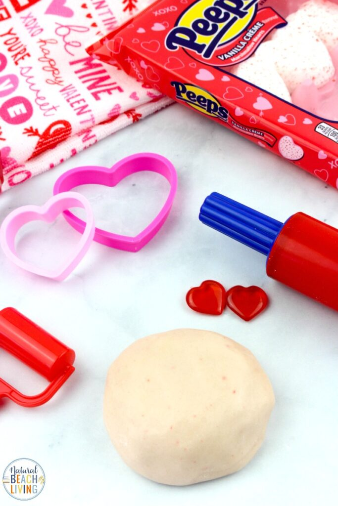 Valentine Peeps Playdough recipe is super simple, This homemade playdough is an easy 3 ingredient taste safe no-cook playdough recipe! Valentine's Day is a great time to make a batch of edible playdough. And this Valentine Playdough recipe smells amazing and is a super soft dough!