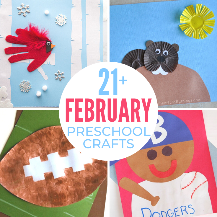 Here you'll find over 50 February Preschool Crafts With Groundhog Day, the Superbowl, Valentine's Day, Presidents' Day, Winter Animal Crafts and more, it's a great time to get crafty. Easy February Preschool Crafts and Preschool Activities for the Month of February