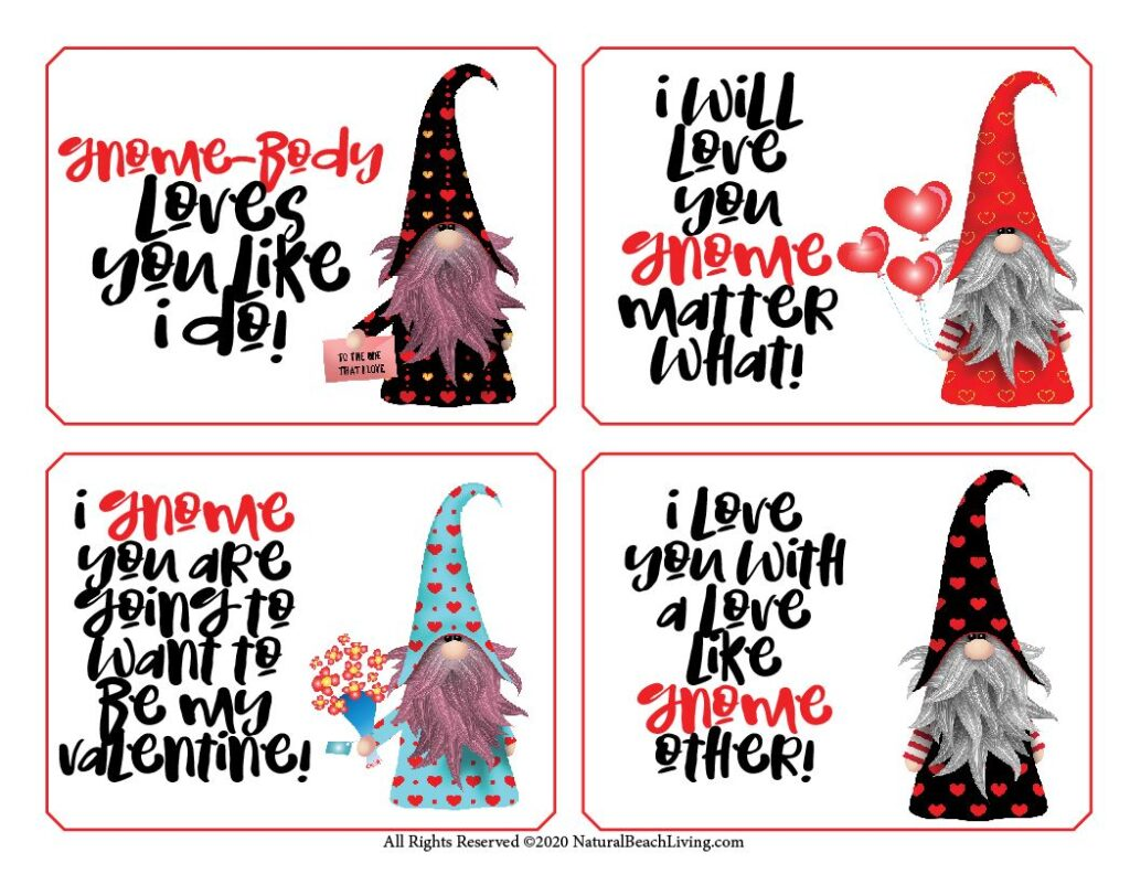 Don't miss out on these Free Gnome Valentine Cards! They're so cute and are certain to be loved by kids and adults that receive it. Download these Free Gnome Cards today to use for Kid Valentine Cards and Valentine's Day Cards for Kids or your loved one. Children's Valentine's Day Cards and Free valentines day cards for everyone