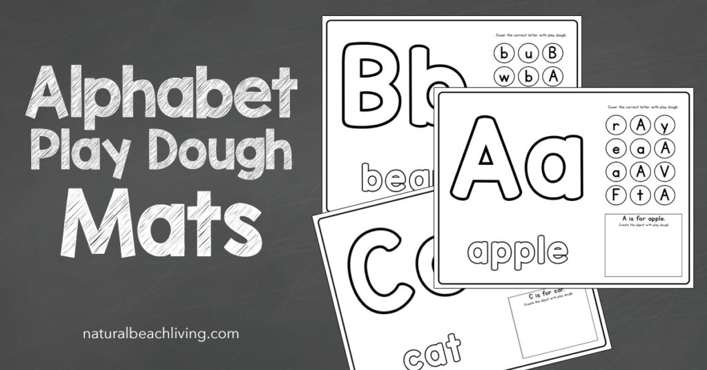 These Alphabet Playdough Mats are perfect for preschoolers. They do a great job of combining learning, fun, and creativity all in one! Hands on learning perfect for Literacy centers, these Alphabet Worksheets are super cute and great practice for kids learning their alphabet letters.