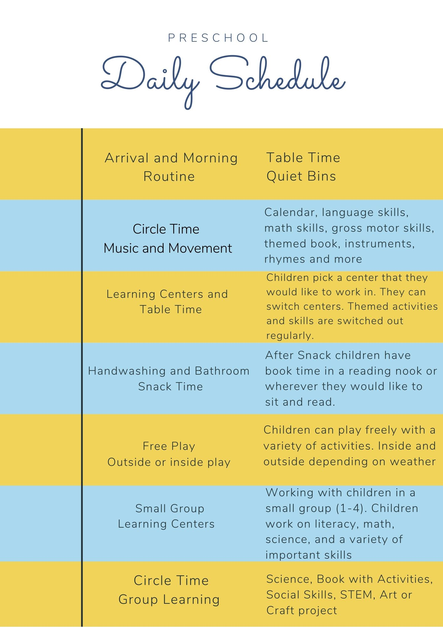 Preschool Daily Schedule Ideas   Natural Beach Living