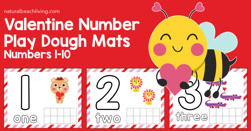 These Valentine Number Playdough Mats are so much fun for preschoolers and early learners. Math Activities for Preschoolers that use hands on learning activities are the best. Your child will improve fine motor skills, counting skills, and concentration while working with playdough and number mats.