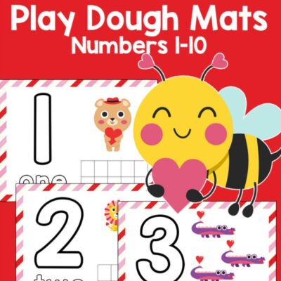 Valentine Number Playdough Mats for Preschoolers