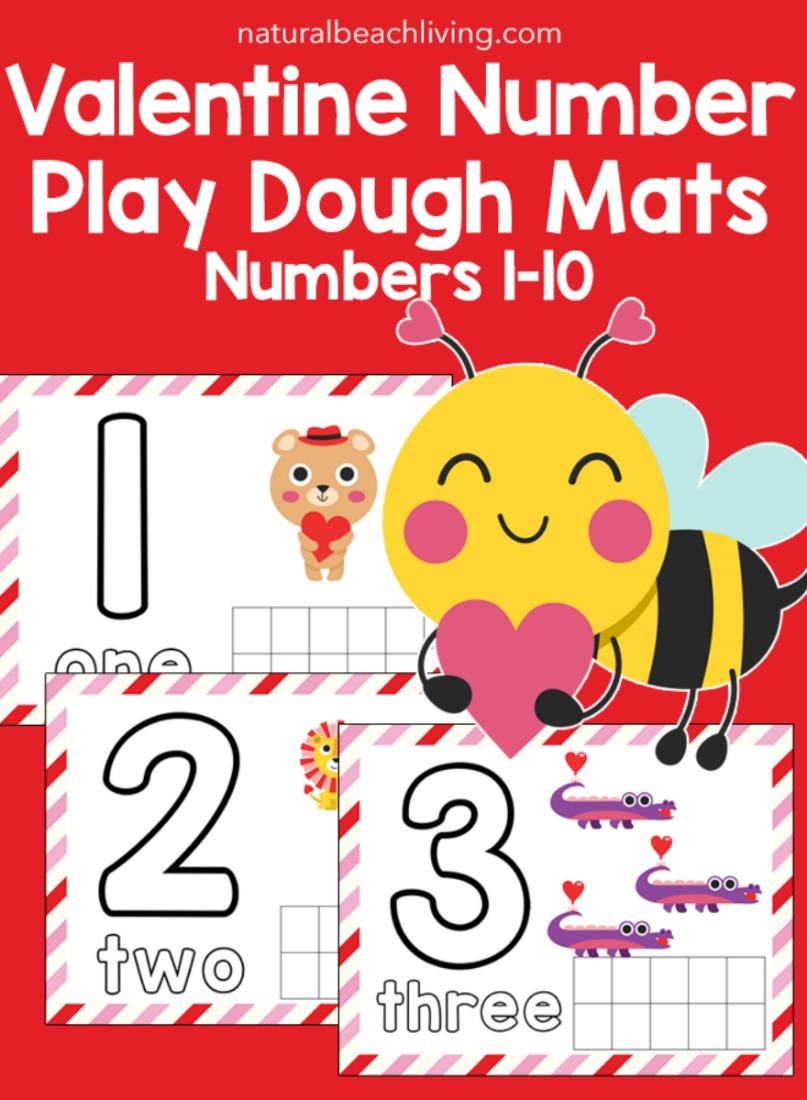 Valentine Number Playdough Mats for Preschoolers