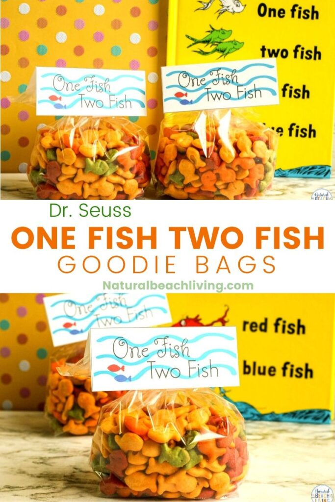 Kids love these Dr Seuss One Fish Two Fish Goodie Bag Tags. You can grab the Dr Seuss Free Printables to use for your Dr Seuss party ideas or just for fun when sharing Dr Seuss Books with your kids. One Fish Two Fish Goodie Bag Ideas for the win!