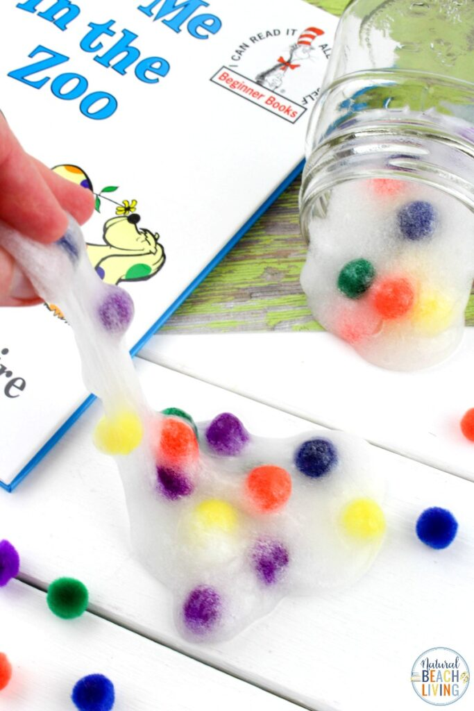 This Dr Seuss Put me in the Zoo Slime is such a fun slime recipe to make! All you need for this Easy Slime Recipe is 3 ingredients. This is one homemade slime recipe that everyone loves. Make it for a Dr Seuss Party or Dr Seuss Theme your kids will love this sensory activity