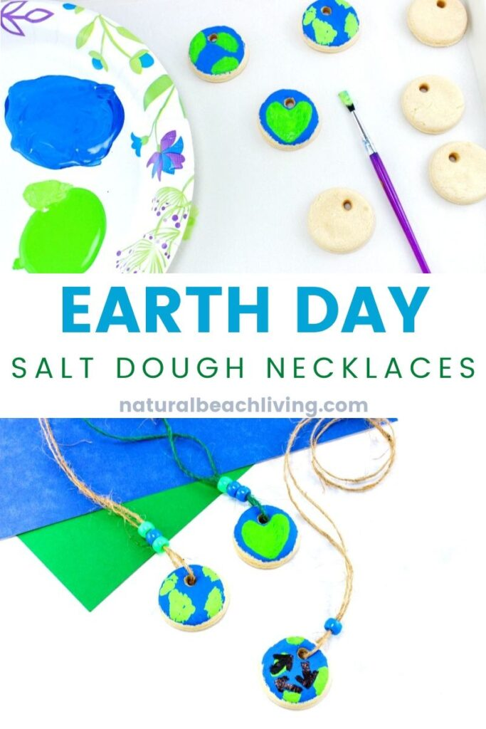 Easy Salt Dough Necklace Earth Day Crafts for Kids of all ages, how to make beautifulSalt Dough necklacewith your kids. This Earth Day craft is perfect to make with children at home, in a classroom, or with a group. A lovely and simple Earth Day Art Project
