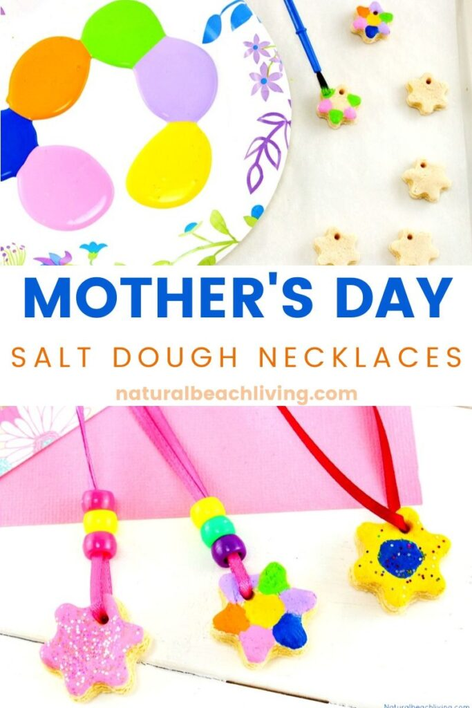 This is the best salt dough recipe ever and it couldn't be any easier! Make Salt Dough Necklaces and Ornaments for Mother's Day. An Easy Handmade gift idea for kids, Use this for a Mother's Day Art Project or Process Art activity for preschoolers.