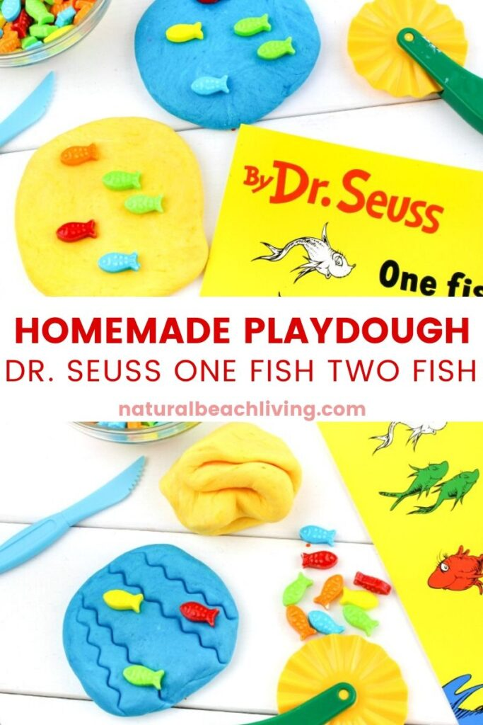 This One Fish Two Fish Edible Playdough Recipe is one of our favorite Dr. Seuss party ideas because it's edible and fun. This simple recipe for how to make marshmallow playdough is the ultimate in easy playdough recipes that delight kids of all ages.