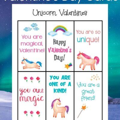 Printable Unicorn Valentines Day Cards