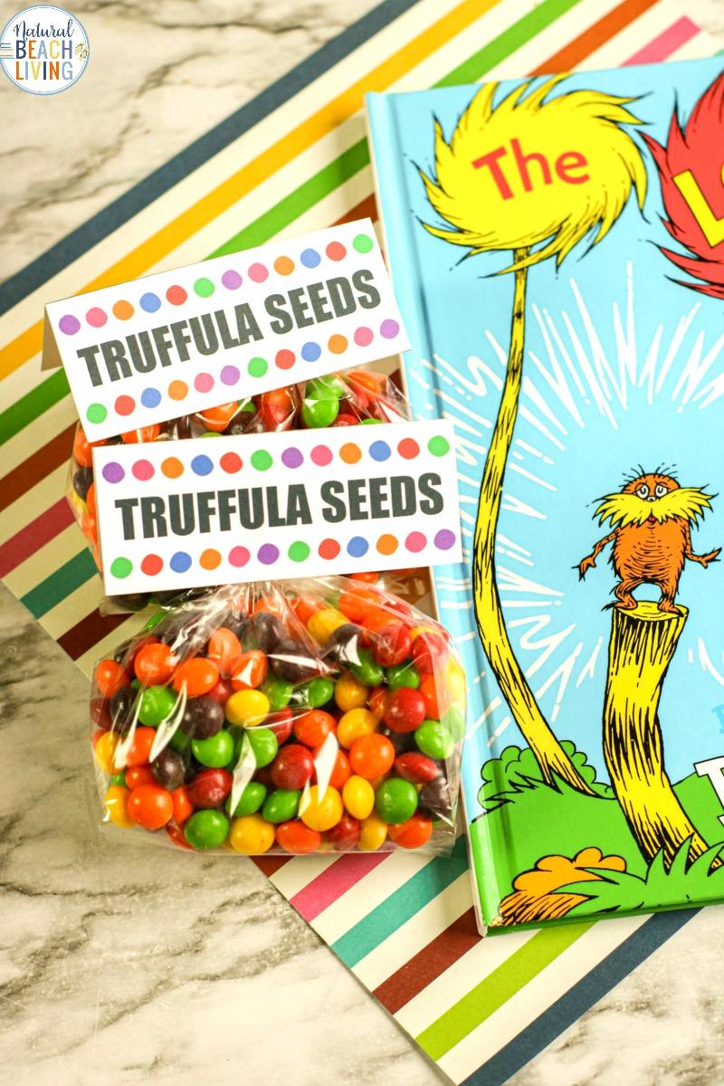 The Lorax Goodie Bag Ideas with Free Truffula Tree Seeds Printable