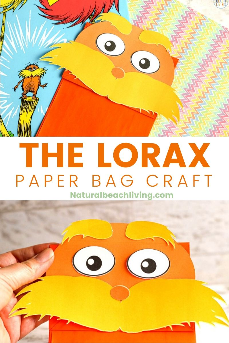 The Lorax Paper Bag Puppet Craft with Free Lorax Template