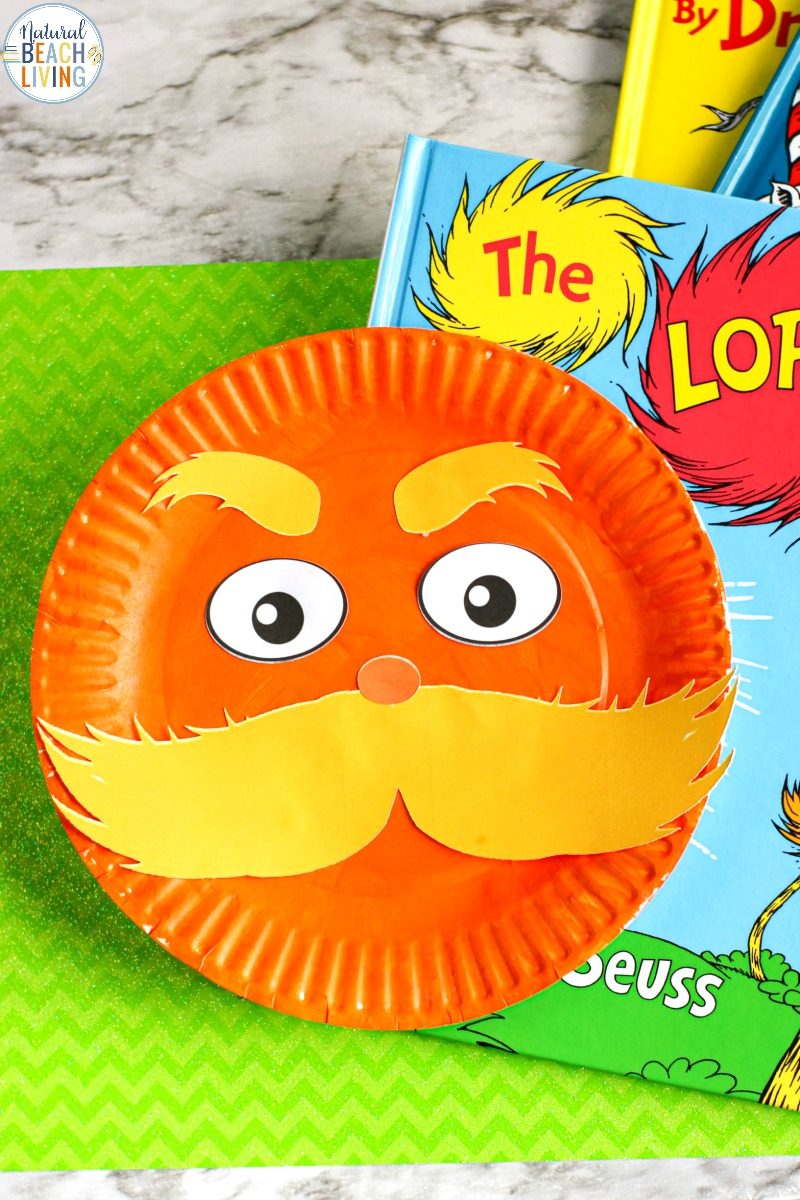 The Lorax Paper Plate Craft with Free Lorax Template