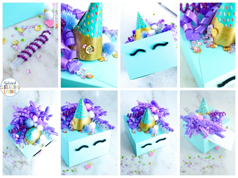 This Unicorn Valentine Box is the cutest! It's an easy way to make your own DIY Unicorn Valentine box for school parties and other fun. You'll be ready for Valentine's Day with these AMAZING Valentine Box ideas, Made with leftover craft supplies and recycled materials it's ready in 5 minutes.