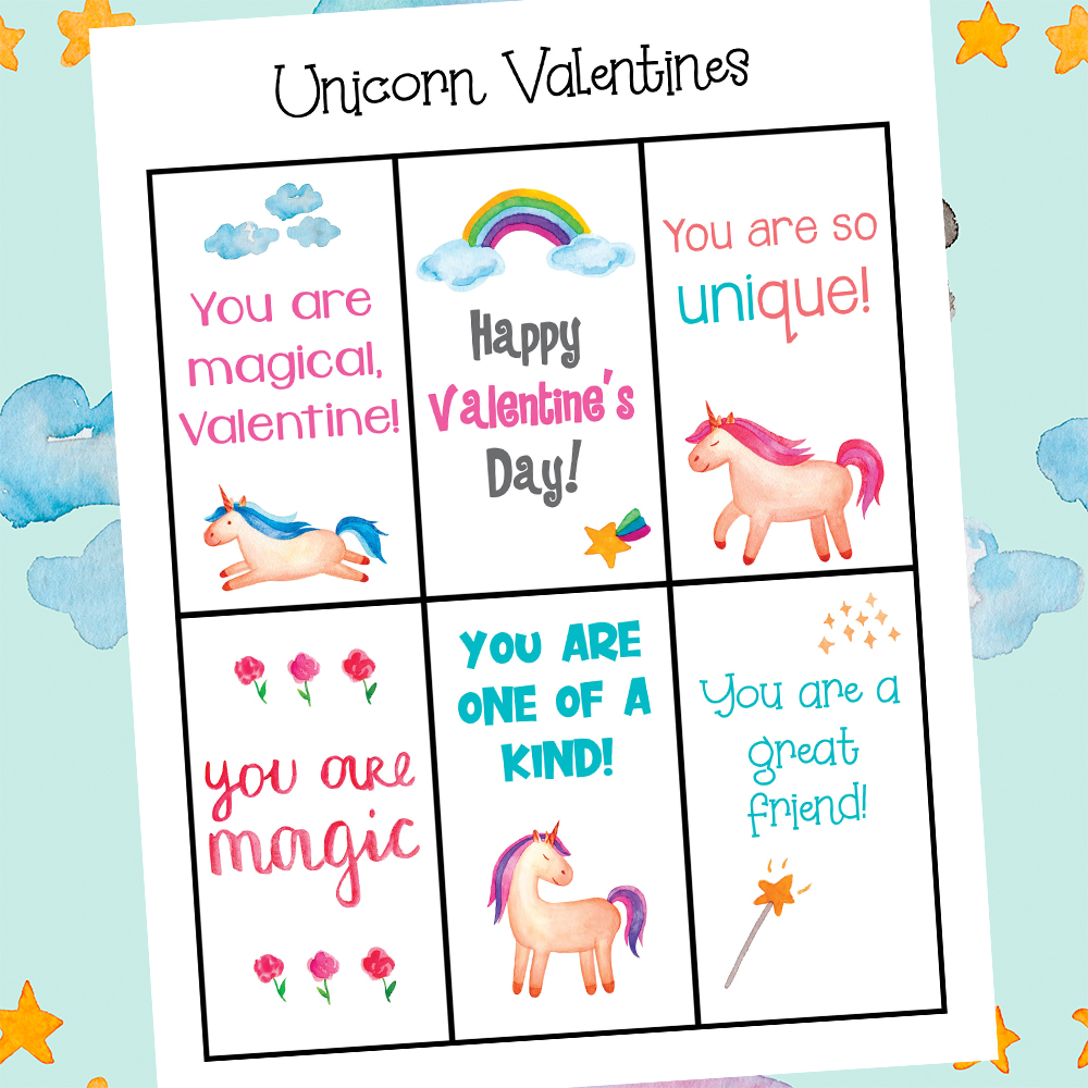 Grab these free Printable Unicorn Valentines Day Cards. They're colorful, cute and are unique, too! Kids love these printable valentine's day printables. Most of hese Unicorn Cards can be used for a unicorn themed party at any time of the year.
