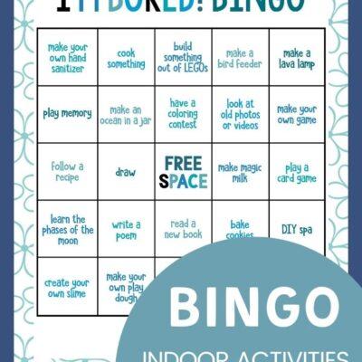 Indoor Activities Bingo – 25 Boredom Busters for Kids