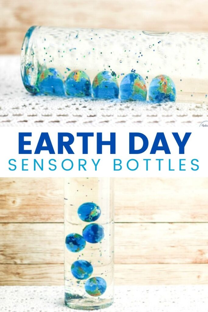 Make these Earth Day Sensory Bottles to enjoy simple science concepts with toddlers and preschoolers. Easy to make Earth Discovery Bottles to add to your Earth Day Activities. Sensory Bottles are a great calming tool for children of all ages.