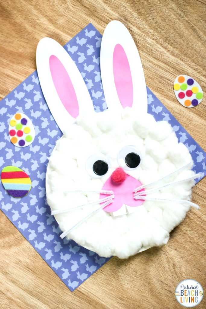 This Easter Bunny Paper Plate Craft is so simple to make. Perfect for Easter Crafts for Preschoolers and Kindergarten and even Toddler craft. Make this Cute Easter Bunny Craft using the Free Bunny Template. Find over 50 Easter Crafts Here your kids will love.