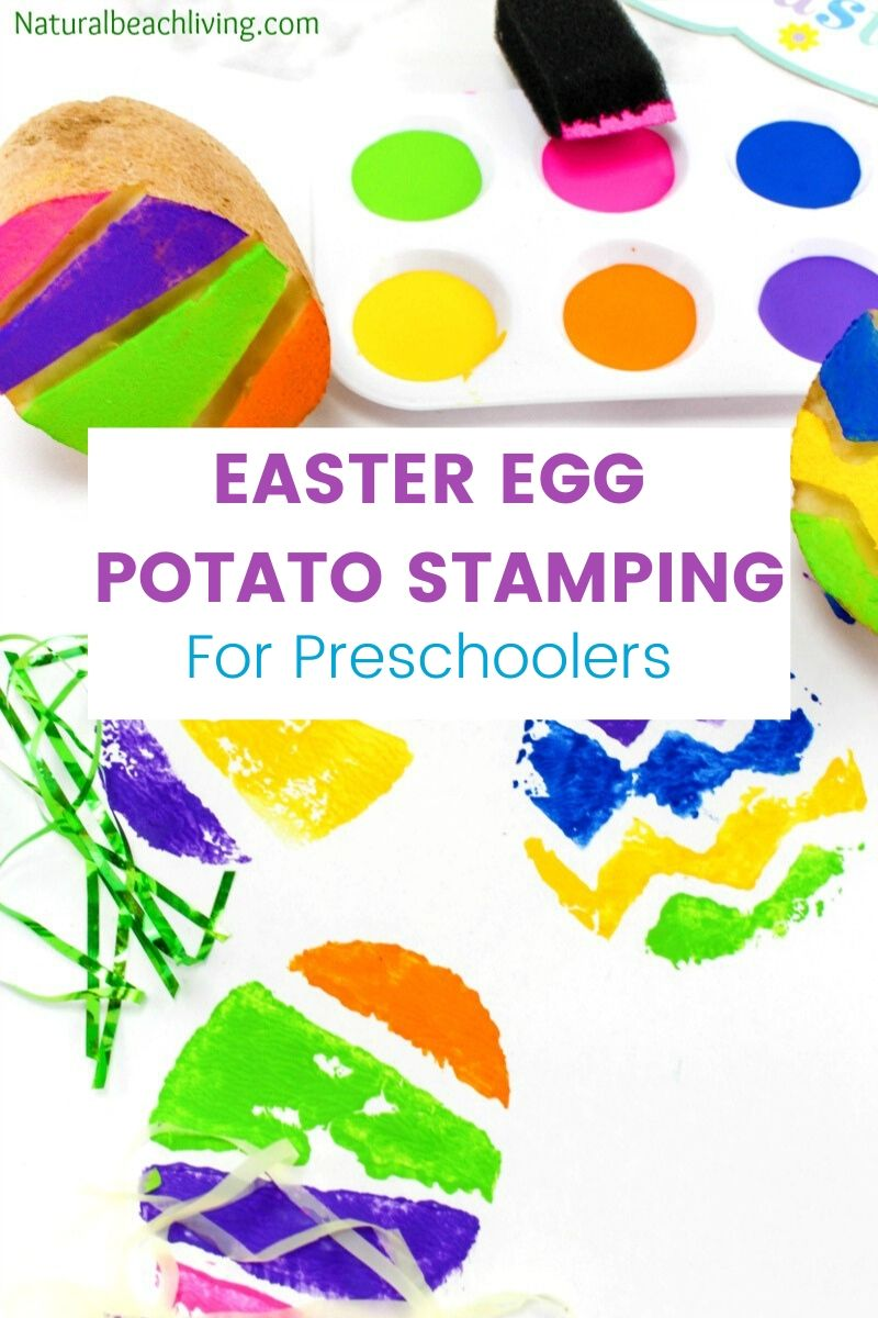 The Best Easter Egg Potato Stamp Ideas for Kids, This is such a Great Easter Craft for preschoolers, toddlers, and Kindergarten children, Check out the cutest Easter Craft and how to make Potato Stamping for kids, Easter Art for preschoolers, and Spring Activities for Kids, Easter ideas for preschoolers